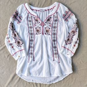 Johnny Was Boho Embroidered White Top